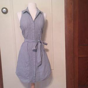 Gray Chambray Cotton Sleeveless Shirt Dress - s 4